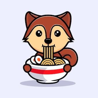 Cute squirrel eating ramen mascot character