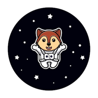 Cute squirrel floating on space swinging on tree mascot character