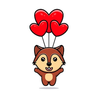 Cute squirrel floating with balloon mascot character