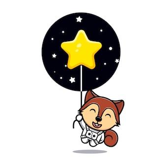 Милая белка, плавающая со звездным талисманом