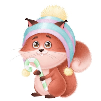 Cute squirrel in a hat with candy children's holiday illustration for new year cards