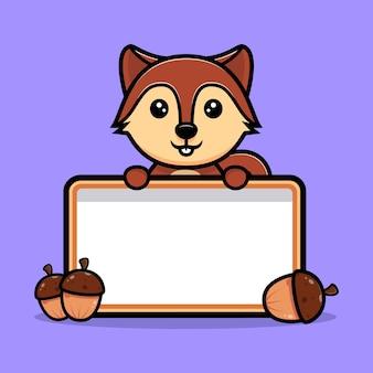 빈 텍스트 보드 마스코트 캐릭터를 들고 귀여운 다람쥐