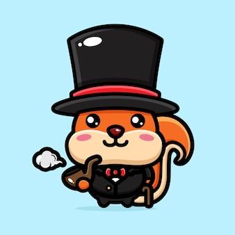 고전적인 스타일의 귀여운 다람쥐