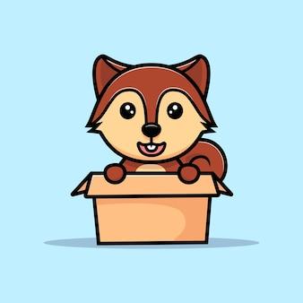 Cute squirrel inside box mascot character