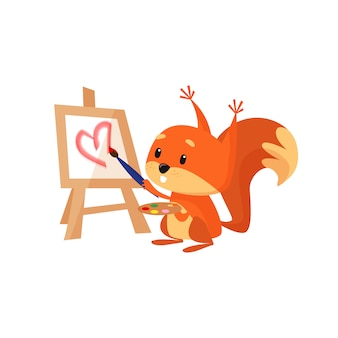 Cute squirrel painting pink heart