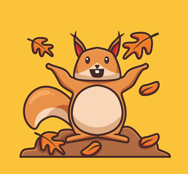 Cute squirrel playing fall leaves cartoon autumn season concept isolated illustration flat style