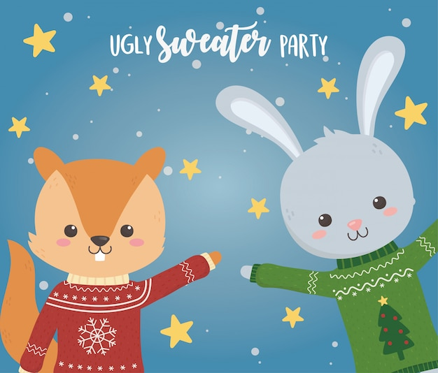 Cute squirrel and rabbit christmas ugly sweater party