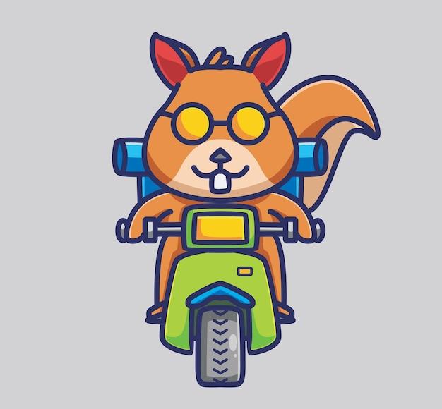 베스파 배낭여행을 하는 귀여운 다람쥐. 만화 동물 여행 휴가 휴가 여름 개념 격리 된 그림입니다. 스티커 아이콘 디자인 프리미엄 로고 벡터에 적합한 플랫 스타일. 마스코트 캐릭터
