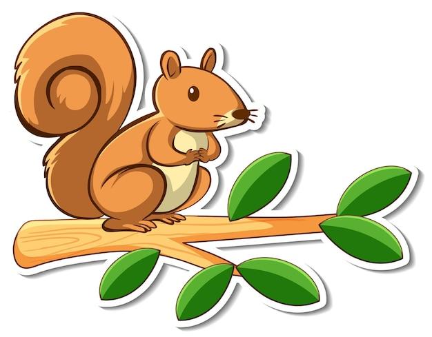 Cute squirrel standing on a branch sticker