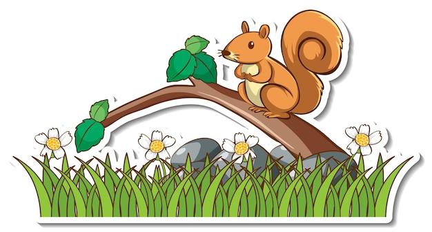 나뭇가지에 서 있는 귀여운 다람쥐 스티커