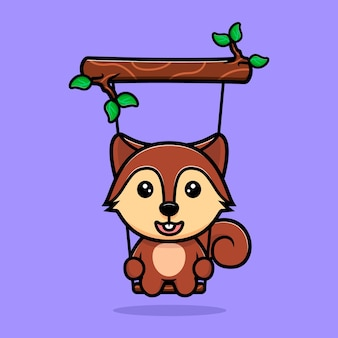Cute squirrel swinging on tree mascot character