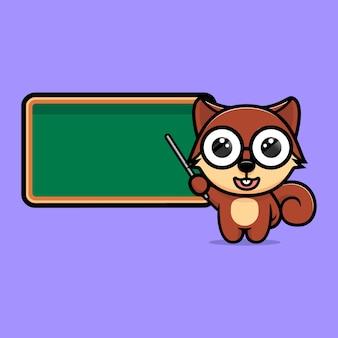 Cute squirrel  teacher mascot character