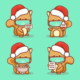 Милая белочка носит медицинскую маску, моет руки и использует дезинфицирующее средство для рук, защищающее от коронавируса covid-1. новая нормальная рождественская концепция