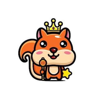 왕의 왕관을 쓰고 귀여운 다람쥐