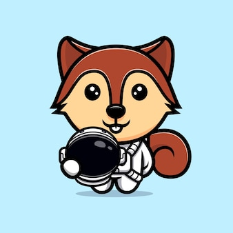 Cute squirrel wearing astronaut suit mascot character