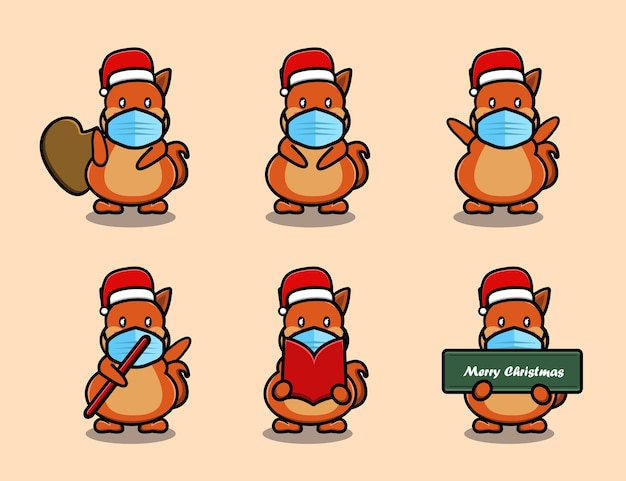 Cute squirrel wearing christmas hat cartoon set