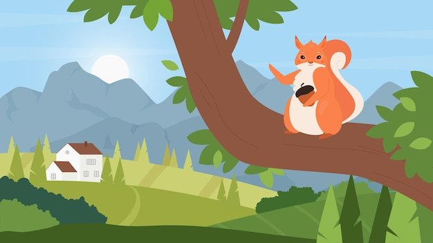 시골 여름 산 풍경 모피 다람쥐 너트 포옹에 도토리와 귀여운 다람쥐
