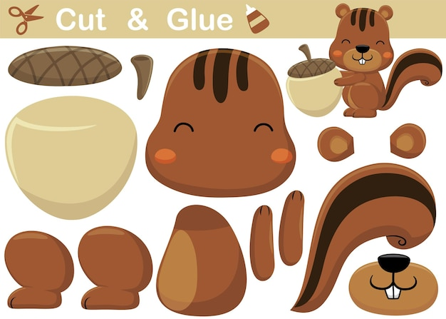 Cute squirrel with big nut. education paper game for children. cutout and gluing.   cartoon illustration