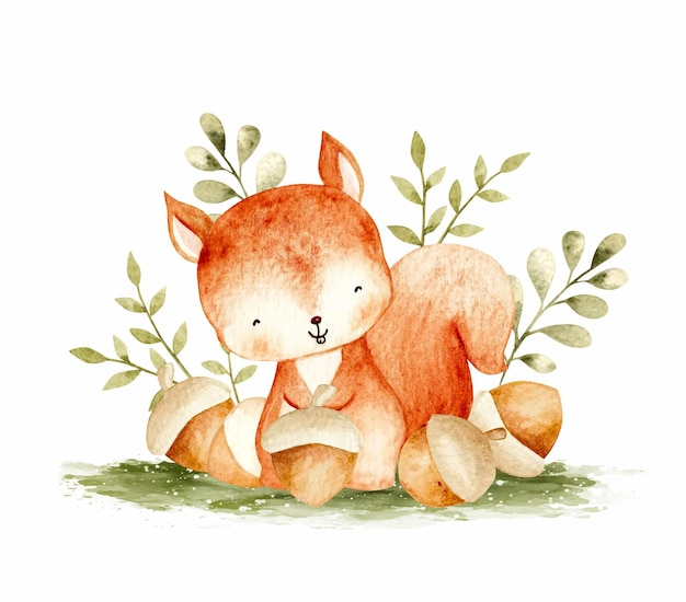 Cute squirrel with canary watercolor illustration