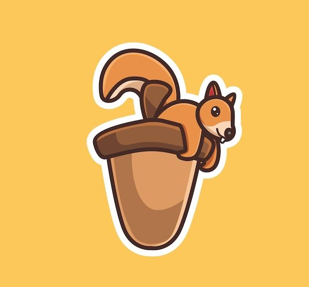 巨大なナッツとかわいいリス。動物フラット漫画スタイルイラストアイコンプレミアムベクトルロゴマスコットウェブデザインバナーキャラクターに適しています