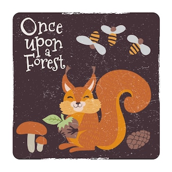 Cute squirrel with nut and mushrooms and bee