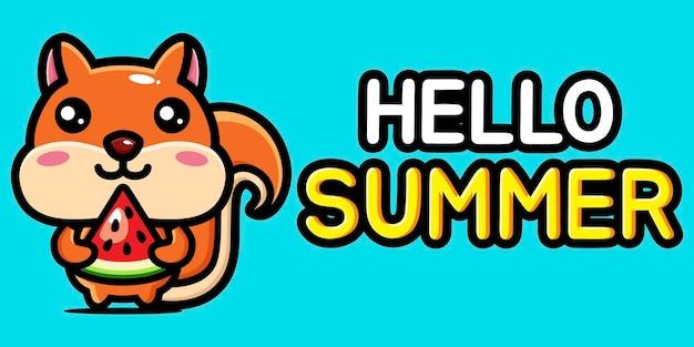 Милая белка с летним поздравительным баннером