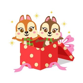Cute squirrels in christmas present box