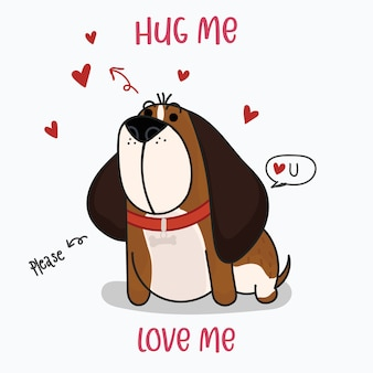 Cute st. bernard dog with a red hearts. hand drawn style print. vector illustration.