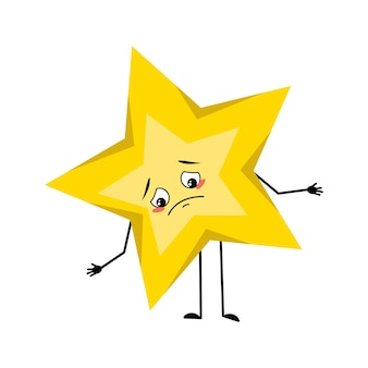 Cute star character with sad emotions depressed face down eyes arms and legs space and weather symbo...