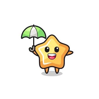 傘を持っているかわいい星のイラスト、tシャツ、ステッカー、ロゴ要素のかわいいスタイルのデザイン