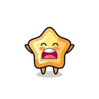 Cute star mascot with a yawn expression , cute style design for t shirt, sticker, logo element