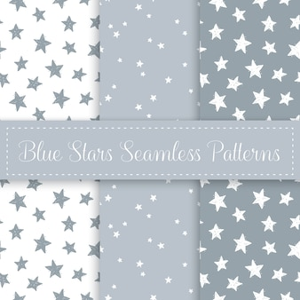 Cute star seamless pattern set