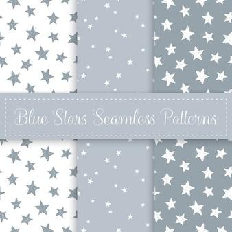 Cute star seamless pattern set