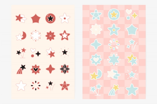 Cute star shape element set