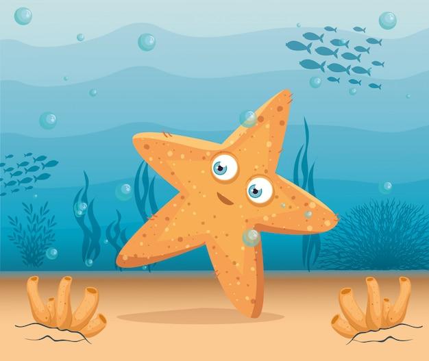 바다, 씨월드 거주자, 귀여운 수중 생물, 서식지 해양의 귀여운 불가사리 동물 해양