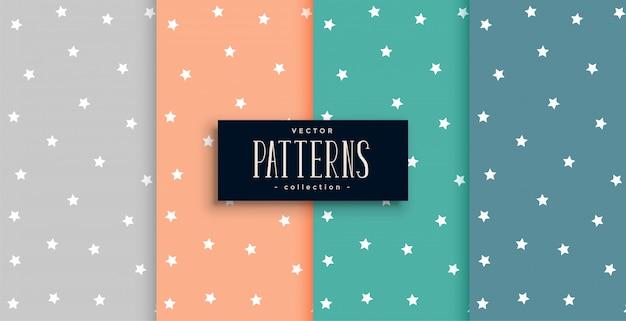 많은 색상으로 설정된 귀여운 별 패턴