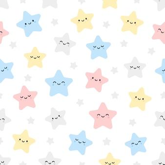 Cute stars seamless pattern background