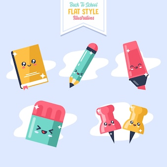 Cute stationary back to school illustration