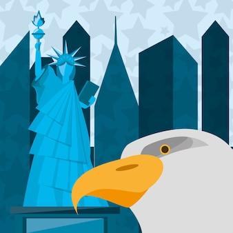 뉴욕시에서 독수리와 자유의 귀여운 동상 프리미엄 벡터