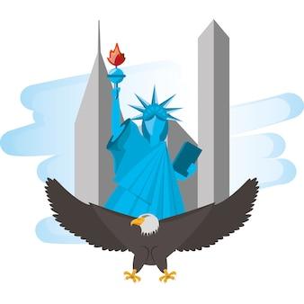 뉴욕시에서 독수리와 자유의 귀여운 동상