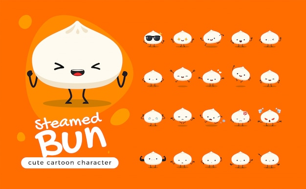 The cute steamed bun. chinese food. isolated   illustration