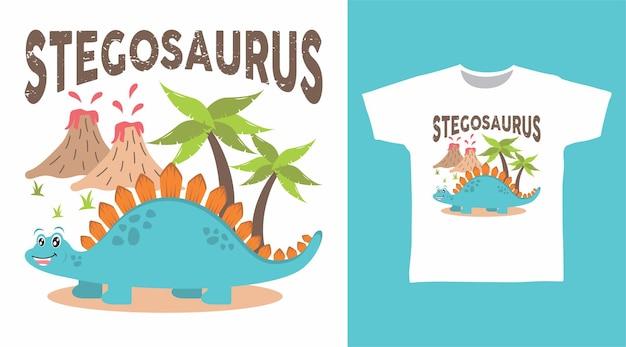 나무와 산 티셔츠 디자인의 귀여운 스테고사우루스 공룡