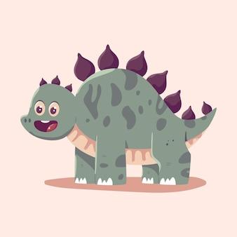 Cute stegosaurus vector cartoon dinosaur illustration isolated on background.