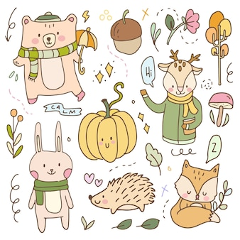 Cute sticker fall autumn baby animal cartoon illustration doodle badges. hand drawn icon hygge planner collection set.