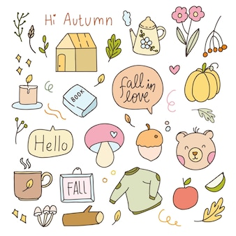 Cute sticker fall autumn element cartoon illustration doodle badges. hand drawn icon planner collection set.
