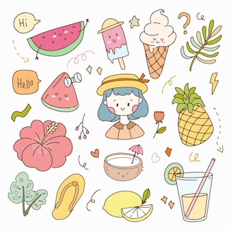 Cute sticker summer set doodle and hygge. hand drawn icon planner collection set.