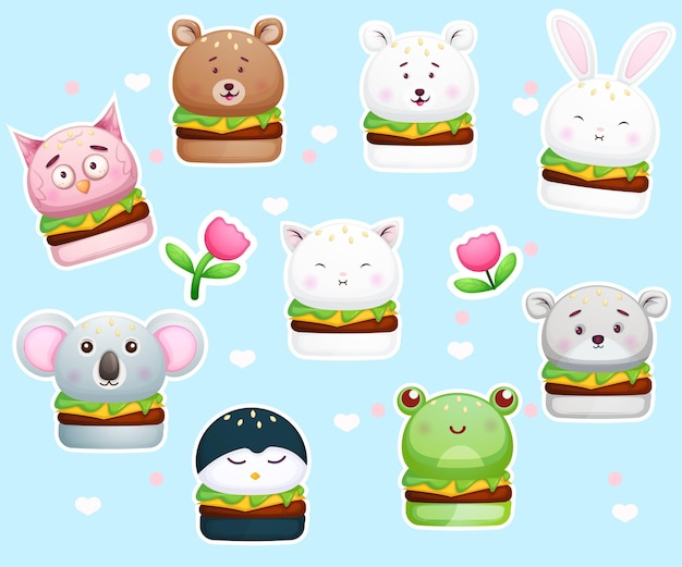 Cute stickers burger in animal shapes.