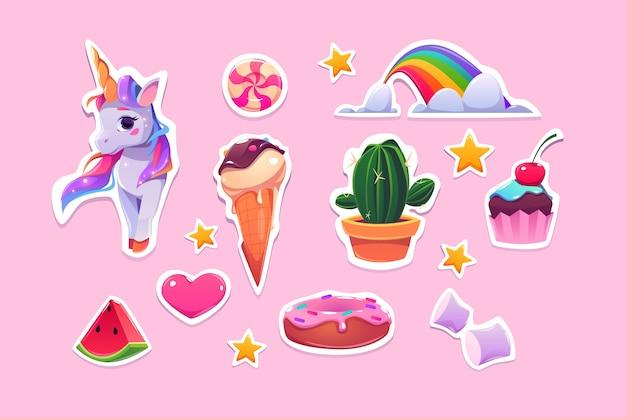 女の子の漫画のユニコーン、アイスクリーム、虹、ピンクのハートのかわいいステッカー