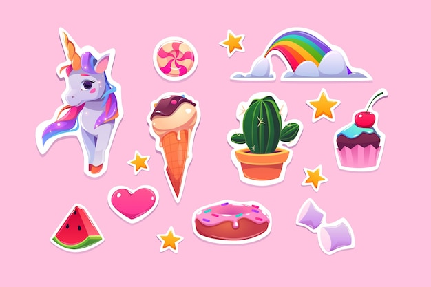 Cute stickers for girls cartoon unicorn, ice cream, rainbow and pink heart