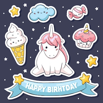 Cute stickers set with pink unicorn on cloud and sweets